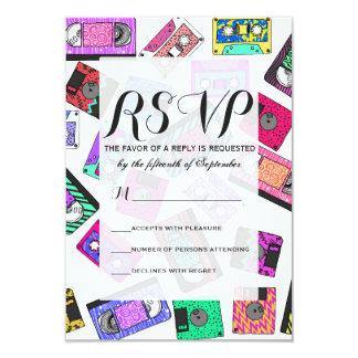 Retro 80's 90's Neon Patterned Cassette Tapes 9 Cm X 13 Cm Invitation Card