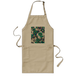 Retro Abstract Flower Teal Blue Flowers Apron