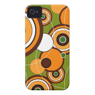 Retro Art Orange Funky Circles iPhone 4 CaseMate Case-Mate iPhone 4 Cases