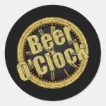 Retro Beer O'Clock Gift Round Sticker