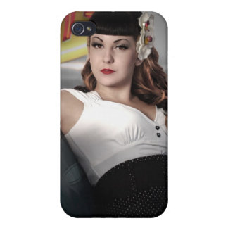 Retro Betty Pin Up Girl Classic Car iPhone 4 Case