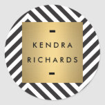 Retro Black and White Pattern Gold Name Logo Round Sticker