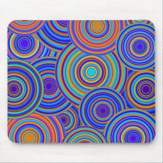 Retro Blue and Orange Circles Pattern Mouse Pad