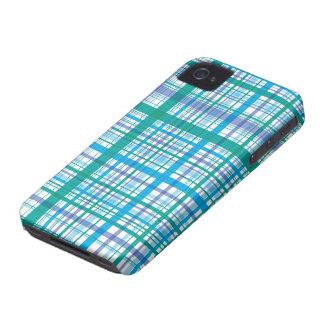 Retro Blue Plaid Checks Pattern iPhone 4 CaseMate iPhone 4 Covers