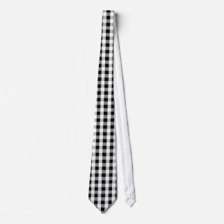 Retro Checkered Black White Grey Tie