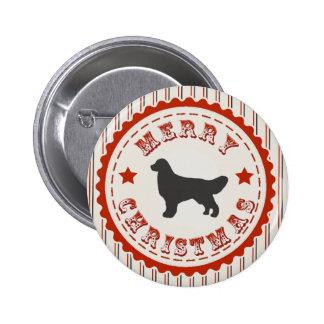 Retro Christmas Golden Retriever 6 Cm Round Badge