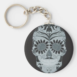 Retro Day of the Dead Sugar Skull Basic Round Button Key Ring