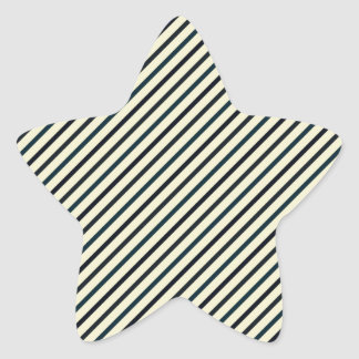 Retro Diagonal Stripes - Blue on Yellow Star Sticker
