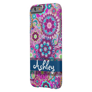 Retro Floral Pattern with Name Barely There iPhone 6 Case