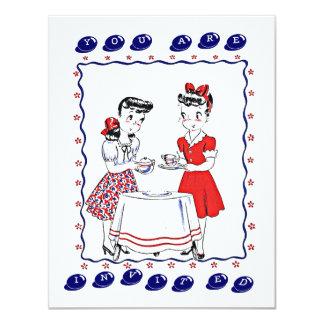 Retro Girls Hosting A Tea Party Social Invitation