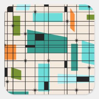 Retro Grid & Starbursts Stickers