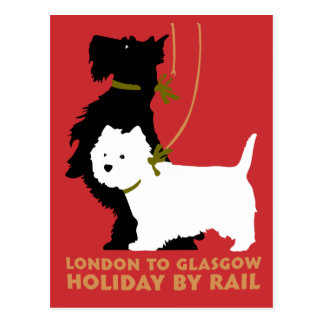 Retro London and Glasgow by train, dogs terriers Postcard