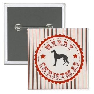 Retro Merry Christmas Greyhound Dog Festive 15 Cm Square Badge
