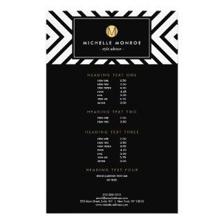 Retro Mod Black and White Pattern Gold Monogram 14 Cm X 21.5 Cm Flyer