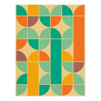 Retro multi color trendy 70's pattern funky fun postcard