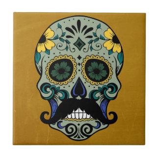 Retro Mustache Day of the Dead Sugar Skull Small Square Tile