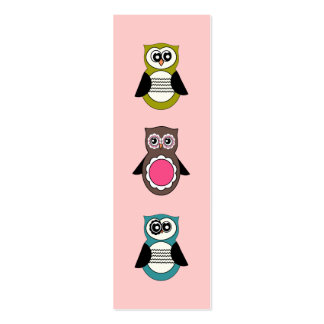 Retro Owls Mini Bookmarks Pack Of Skinny Business Cards