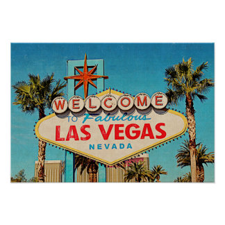 Retro Painting Fabulous Las Vegas Nevada Sign Poster