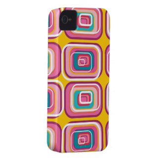 Retro Pink Squares Pattern Art iPhone 4 CaseMate iPhone 4 Covers