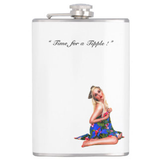 Retro Pinup Tropical Tiki Beach Girl White Hip Flask