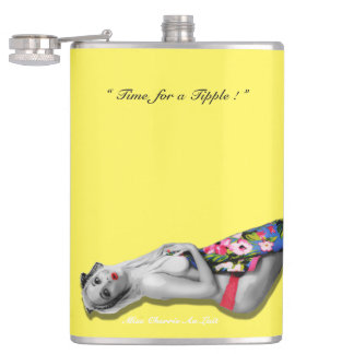 Retro Pinup Tropical Tiki Beach Girl Yellow Hip Hip Flask