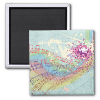 Retro Rainbow and Music Notes on a Shabby Texture Square Magnet