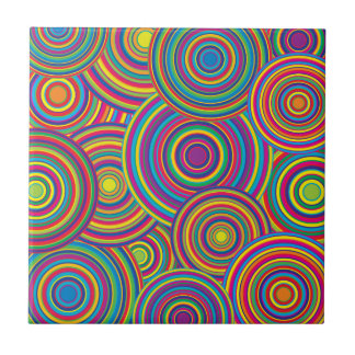 Retro Rainbow Circles Pattern Small Square Tile