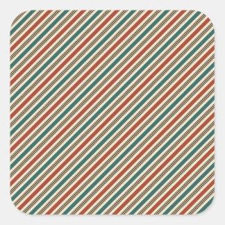 Retro Red and Blue Diagonal Stripes Square Sticker