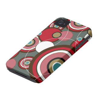 Retro Red Funky Abstract Circles iPhone 4 CaseMate Case-Mate iPhone 4 Cases
