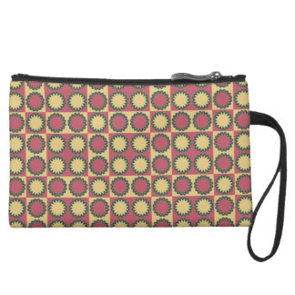 Retro star flowers amaranth red, yellow amber wristlet clutch