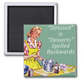 "Retro ""Stressed is Desserts spelled backwards"" Mag Square Magnet"