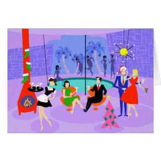 Retro Tropical Christmas Party Holiday Card