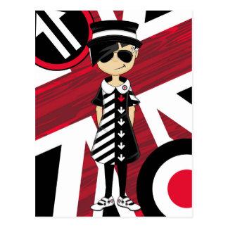 Retro Union Jack Mod Girl Postcard