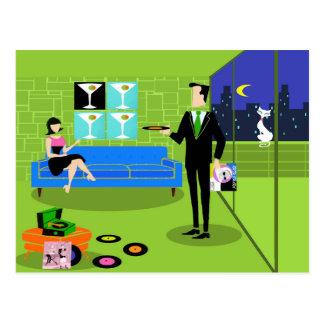 Retro Urban Cartoon Couple Postcard