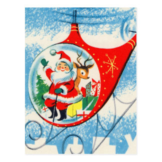 Retro Vintage Advertisement Helicopter Santa Postcard