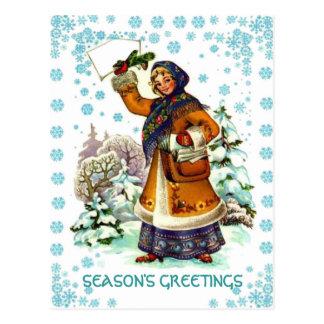 Retro Vintage Christmas, Girl with a basket Postcard