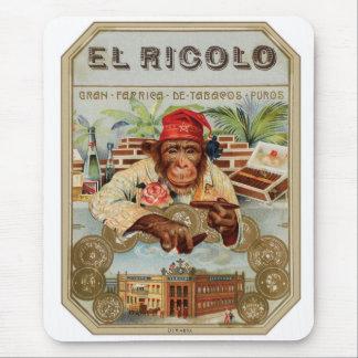 Retro Vintage Kitsch 30s Cigar El Ricolo Chimp Mouse Pad