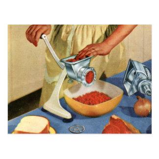 Retro Vintage Kitsch 50s Suburbs Meat Grinder Beef Postcard