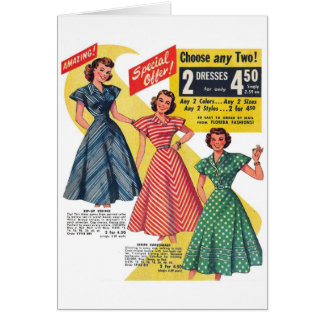 Retro Vintage Kitsch 50s Woman Dresses Fashion Ad Greeting Card