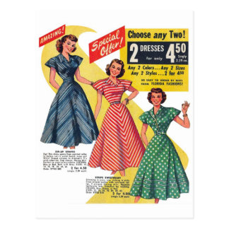 Retro Vintage Kitsch 50s Woman Dresses Fashion Ad Postcard