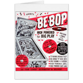 Retro Vintage Kitsch 60s Be-bop Pinball Machine Ad Greeting Card