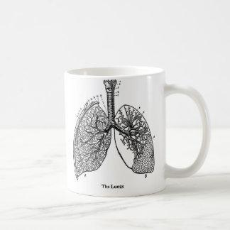 Retro Vintage Kitsch Anatomy Medical Lungs Basic White Mug