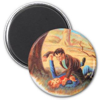Retro Vintage Kitsch Bully Kids Fist Fighting 6 Cm Round Magnet