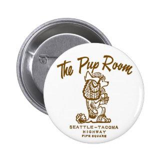 Retro Vintage Kitsch Diner 'The Pup Room' 6 Cm Round Badge