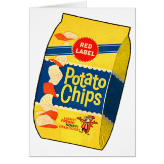 Retro Vintage Kitsch Food Crisps Potato Chips Bag Greeting Card