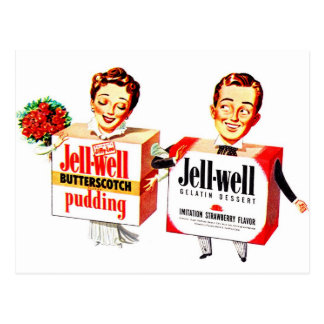 Retro Vintage Kitsch Food Jell-Well Gelatin Boxes Postcard