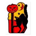 Retro Vintage Kitsch Halloween Black Cat Postcard