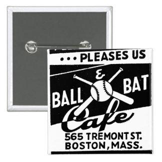 Retro Vintage Kitsch Matchbook Ball & Bat Cafe 15 Cm Square Badge