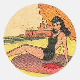 Retro Vintage Kitsch Pin Up Card Coney Island Girl Round Sticker