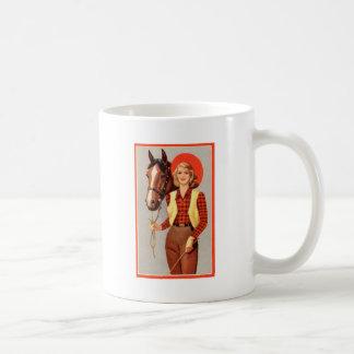 Retro Vintage Kitsch Pin Up Card Cowgirl & Horse Basic White Mug